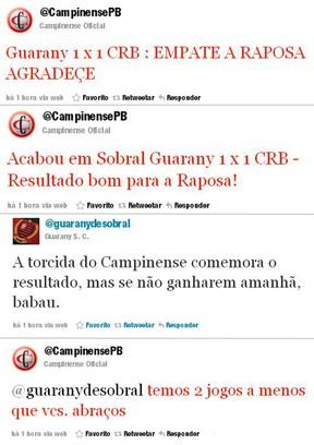 tuitadas de campinense e guarany de sobral (Foto: Reprodução / Twitter)