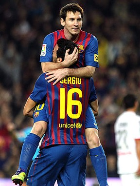 Messi comemora gol do Barcelona contra o Mallorca (Foto: EFE)
