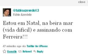 Twitter, Fábio Azevedo do Treze (Foto: Divulgação)