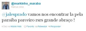 twitter Marquinhos Marabá (atacante Campinense) (Foto: Reprodução)