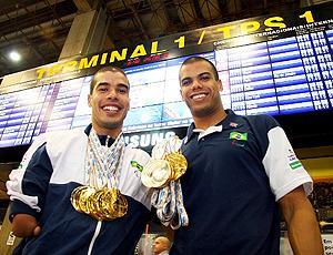 Daniel Dias e André Brasil desembarque Mundial Paraolímpico