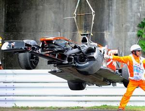 Lewis Hamilton McLaren acidente treino livre GP do Japão Suzuka