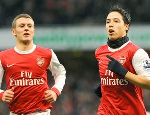 Jack Wilshere e Samir Nasri - Arsenal x Fulham (Foto: AFP)