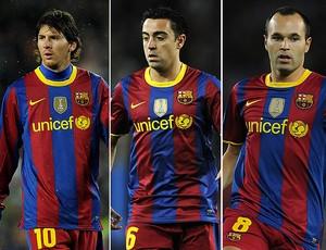 MONTAGEM - Messi xavi iniesta barcelona prêmio bola de ouro da fifa