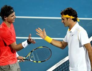 Federer e Rafael Nadal em Abu Dhabi