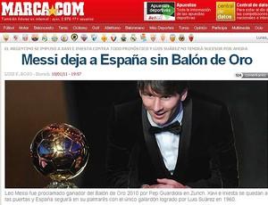 Site Marca Messi bola de ouro
