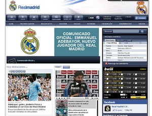 Adebayor no site do Real Madrid