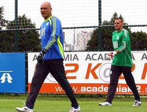 Marcos e Deola no treino do Palmeiras (Foto: Ag. Estado)