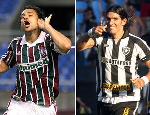 montagem Fred Fluminense Loco Abreu Botafogo (Foto: Editoria de Arte / GLOBOESPORTE.COM)