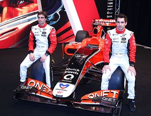 Timo Glock e Jerome d'Ambrosio no lançamento do novo carro da Virgin Racing (Foto: Getty Images)
