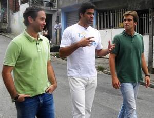 Caio Ribeiro, Raí e Thiago Asmar na Fundação Gol de Letra (Foto: Divulgação/Tv Globo)