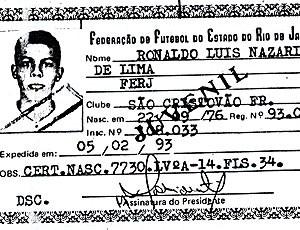 carteirinha Ronaldo São Cristovão (Foto: Reprodução)