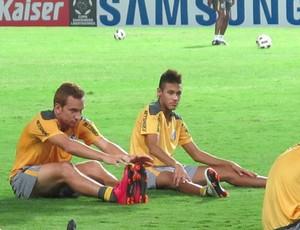 neymar ze eduardo love, treino santos (Foto: Adilson Barros/Globoesporte.com)