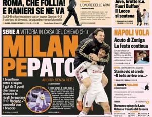 Pato na Primeira páginado Jornal Gazzetta (Foto: Reprodução)