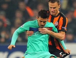 David Villa na partida do Barcelona contra o Shakhtar (Foto: AFP)