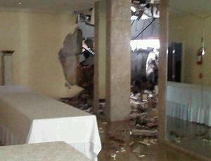 Explosão tênis hotel Challenger Blumenau (Foto: Reprodução/Twitter)