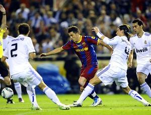 David Villa na partida do Barcelona contra o Real Madrid (Foto: AFP)