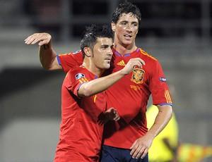 David Villa e Fernando Torres na seleção da Espanha (Foto: AFP)