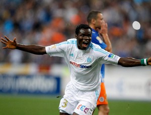 Comemoração do Taiwo Taye Ismaila do Olympique Marseille x Montpellier (Foto: Reuters)