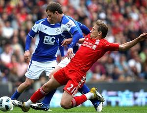 Lucas na partida do Liverpool contra o Birmingham (Foto: Getty Images)