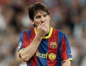 Messi na partida do Real Madrid contra o Barcelona (Foto: AP)