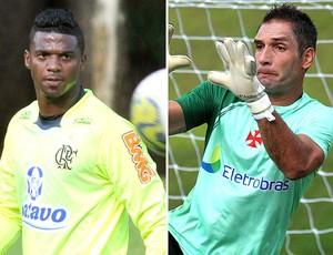 montagem Felipe Flamengo Fernando Prass Vasco (Foto: Editoria de Arte / GLOBOESPORTE.COM)