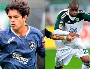 Montagem: Fahel, volante do Botafogo, e Grafite, atacante do Wolfsburg (Foto: Globoesporte.com)