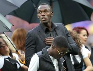 Usain Bolt participa da final da Liga dos Campeões (Foto: AFP)