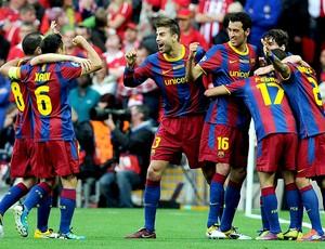 Pedro comemora gol do Barcelona contra o Manchester na final da Liga (Foto: AFP)