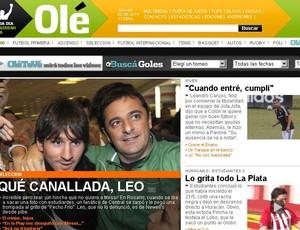 Messi capa do diário Olé (Foto: Olé)