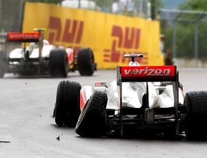 Hamilton deixa o GP do Canadá (Foto: Getty Images)