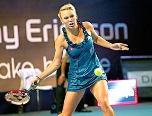 Caroline Wozniacki na final contra Lucie Safarova em Copenhague (Foto: EFE)