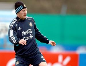 Messi no treino da Argentina (Foto: EFE)