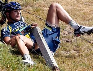 ciclista Johnny Hoogerland arame farpado (Foto: Agência Reuters)