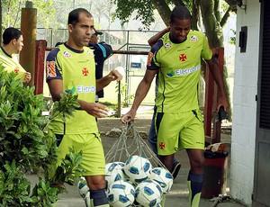Felipe e Dedé no treino do Vasco (Foto: Cezar Loureiro / Agência O Globo)