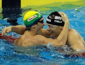 Bruno Frtatus e Cesar Cielo Mundial de Xangai natação (Foto: Satiro Sodré/AGIF)