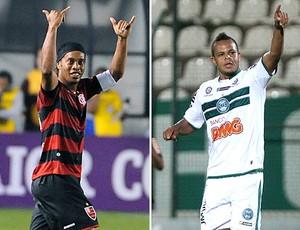 montagem Ronaldinho Flamengo Bill Coritiba (Foto: Editoria de Arte)