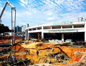 obras na Arena Palestra (Foto: Marcos Ribolli / GLOBOESPORTE.COM)