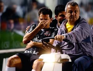 Fabio Santos deixa o campo lesionado (Foto: Marcos Ribolli / Globoesporte.com)