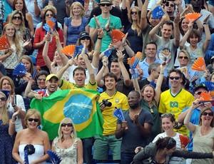 Torcida brasileira no evento-teste de vôlei de praia (Foto: Divulgação/FIVB)
