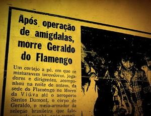 Manchete de jornal com a notícia da morte de <br /> Geraldo (Foto: Reprodução / TV Globo)