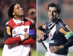 montagem Ronaldinho Gaúcho Juninho Pernambucano (Foto: Editoria de Arte / GLOBOESPORTE.COM)