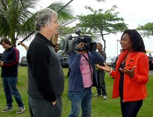 Bastidores Glória Maria salto de asa delta (Foto: TV Globo)