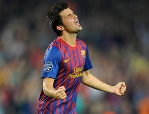 David Villa comemora gol do Barcelona contra o Milan (Foto: AFP)