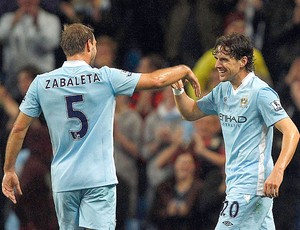 Owen Hargreaves comemora gol do City contra o Birmingham City (Foto: Reuters)