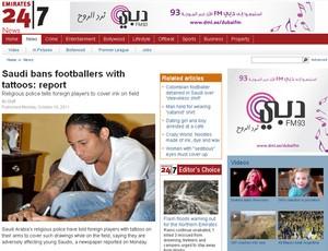 Pino jogador do Al Nasr tatuado (Foto: Reprodução/Emirates247.com)