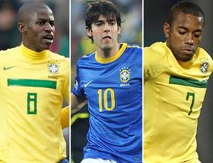 Montagem - Ramires, Kaká e Robinho (Foto: Agência EFE e Agência AP)
