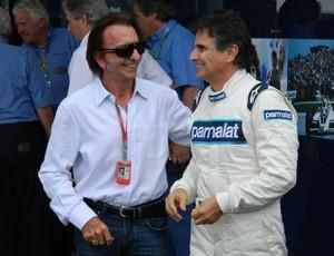 Emerson Fittipaldi e Nelson Piquet antes da exibição com a Brabham (Foto: Alexander Grünwald / Globoesporte.com)