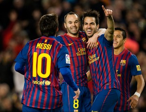 messi iniesta fabregas barcelona gol levante (Foto: Agência EFE)