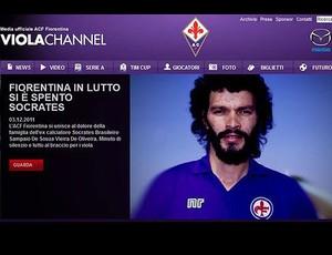 Fiorentina decreta luto pela morte de Sócrates, que defendeu o clube nos anos 80 (Reprodução / Site Oficial)